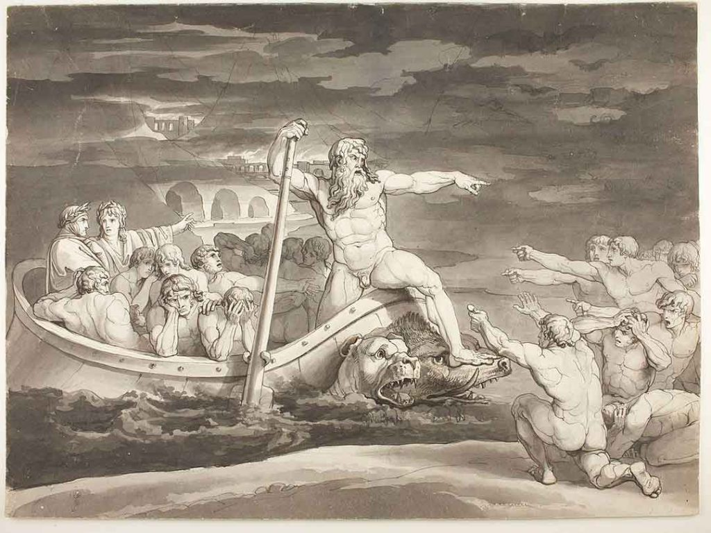 Black and white illustration by Bartolomeo Pinelli of Charon and his boat filled with the dead on the river styx.