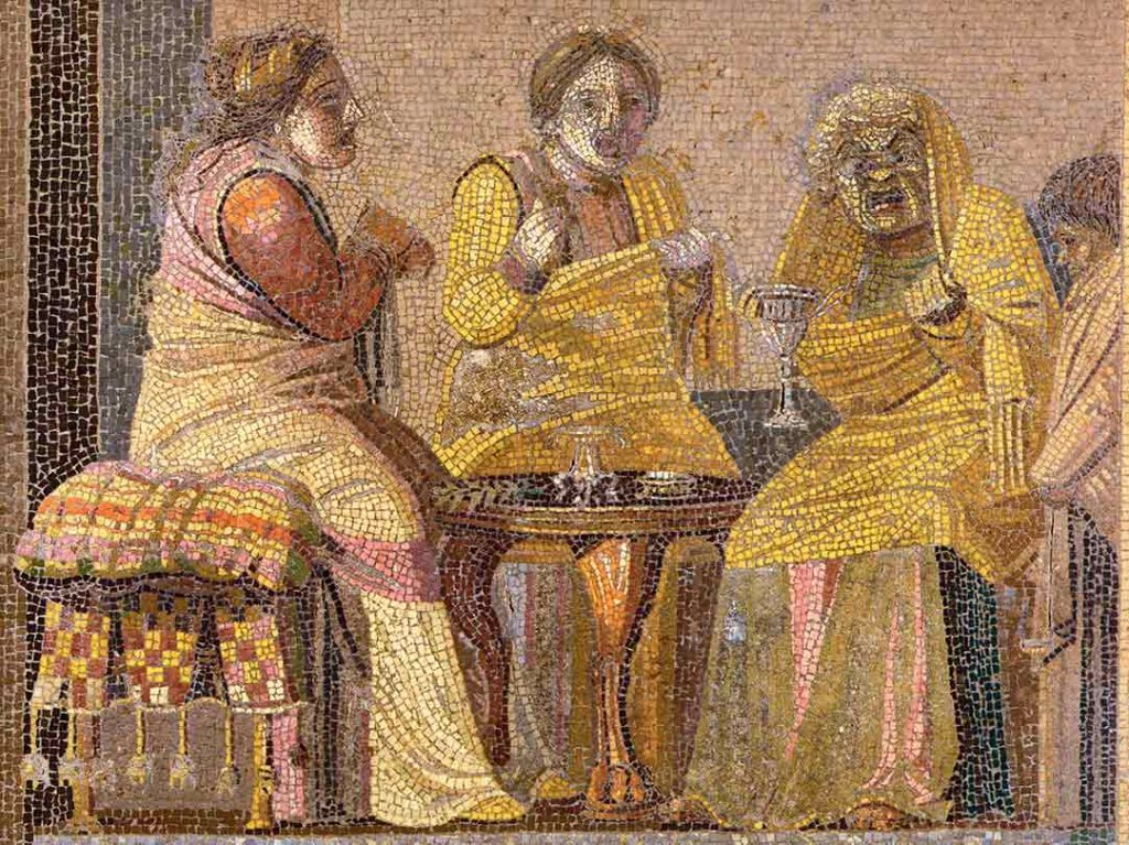 Roman mosaics from Villa del Cicerone in Pompeii of a theatre scene showing two women visiting a witch, all of them are wearing theatre masks.