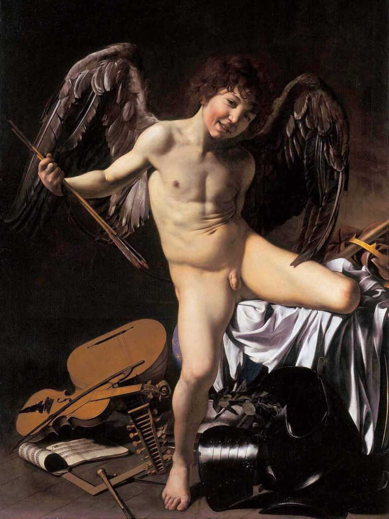 """Caravaggio's painting """"omnia vincit amor"""" with Amor depicted as a young naked boy with large wings."""