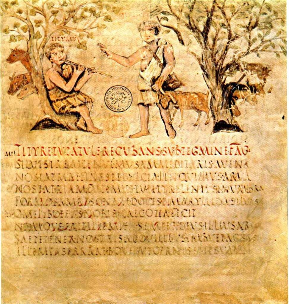 Illustrated manuscript from the 5th century of Vergilius' Eclogues.