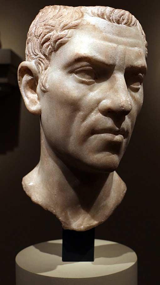 White marble bust of Gaius Cornelius Gallus.
