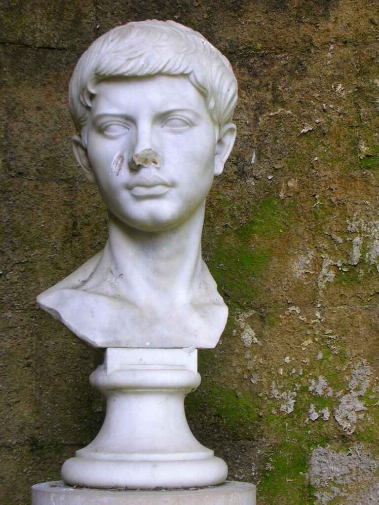 White marble bust of a young Publius Vergilius Maro.