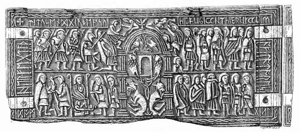 """A small whale's bone casket from the early 8th century called """"the Franks Casket"""" covered in narrative scenes and runes."""