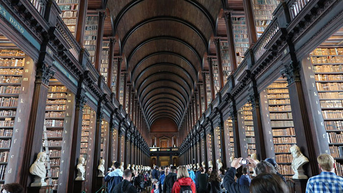 The grand room of the Trinity College Library, Dublin