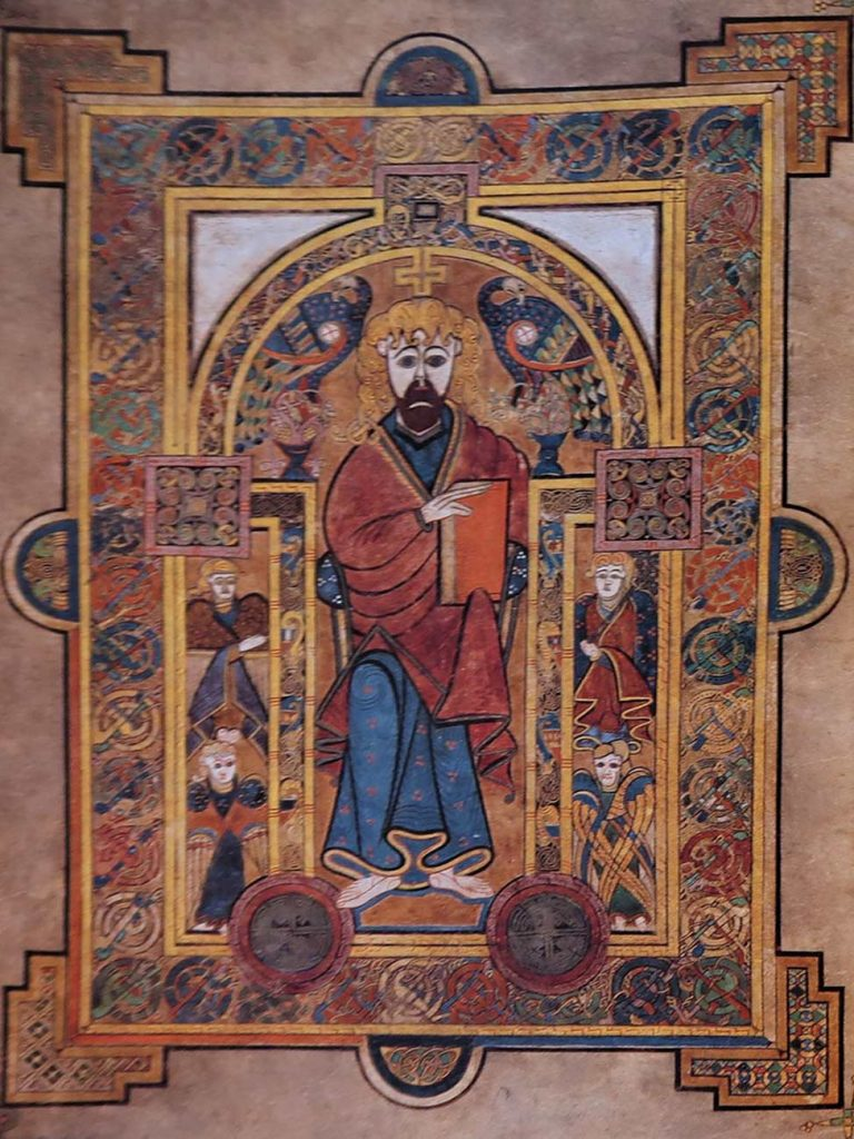 An illustration showing a bearded Christ on a throne, from the book of Kells, 9th century.