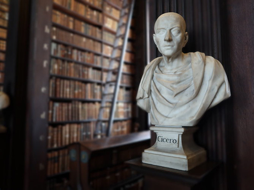 Marble bust of Cicero at the Trinity College Library in Dublin.