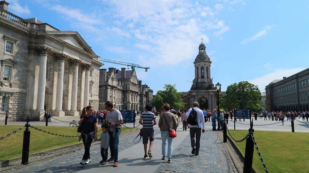 Trinity College campus in Dublin on a sunny spring day.