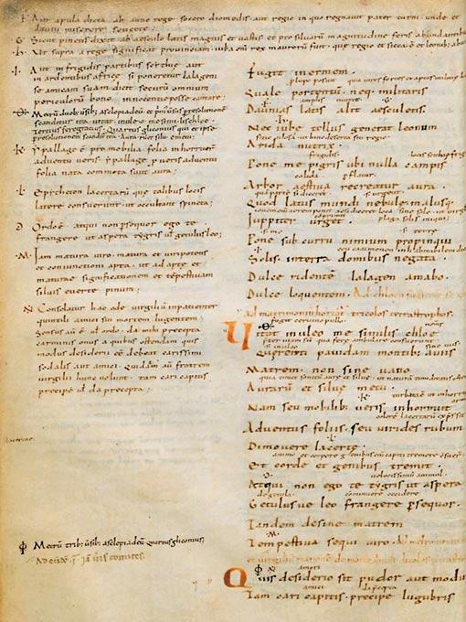 Manuscript showing Horace, Odes 1.23.