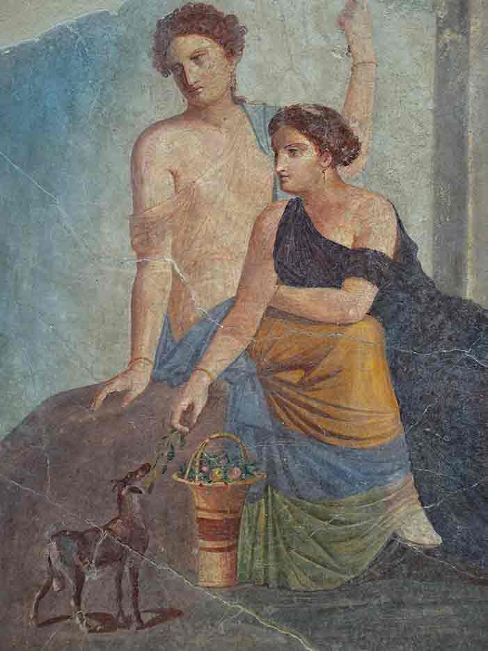 Fresco from Pompeii, ca 30-50 A.D. showing two women with a fawn.