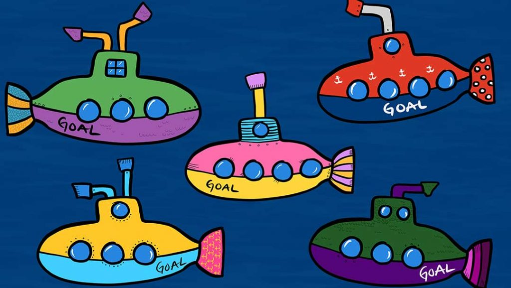 """Five cartoon submarines all with the text """"goal"""" on them to turn them into """"sub-goals""""."""
