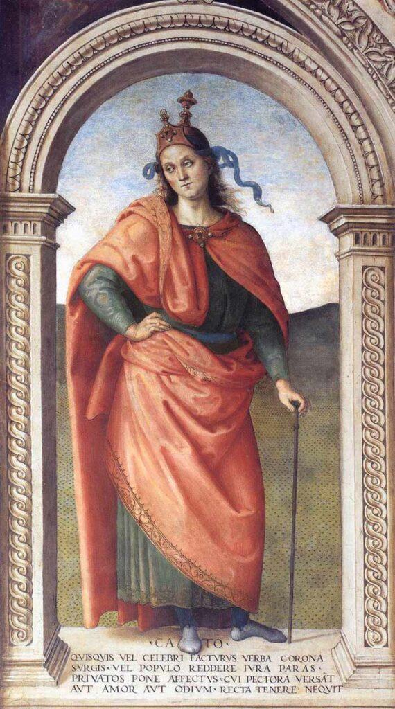 Cato, fresco by Pietro Perugino, 1497-1500, at Collegio del Cambio, Perugia.