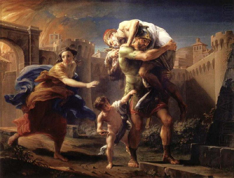 """""""Aeneas fleeing from Troy"""" by Pompeo Batoni."""