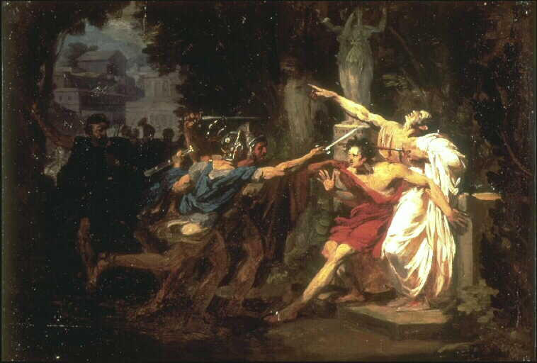 Painting by Félix Auvray showing the death of Gaius Gracchus.
