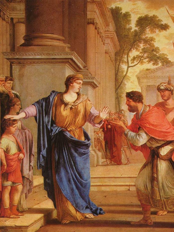 Painting by Laurent de la Hyre showing Cornelia, mother of Gaius Gracchus, rejecting King Ptolemys proposal.