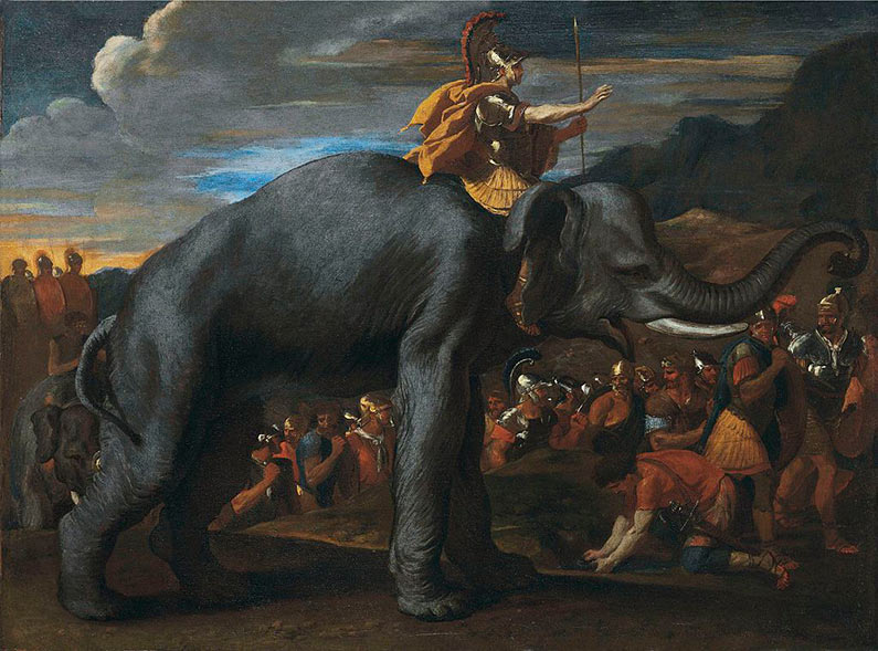Hannibal on the back of an elephant as he is crossing the alps. Painting by Nicolas Poussin.