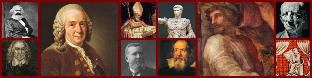 Collage of Latin authors, from the left: Karl Marx, Thomas Hobbes, Carolus Linneaus, Isidorus Hispalensis , Jean Jaurès, Augustus, Galileo Galilei, Ennius, Cato Maior, Einhard