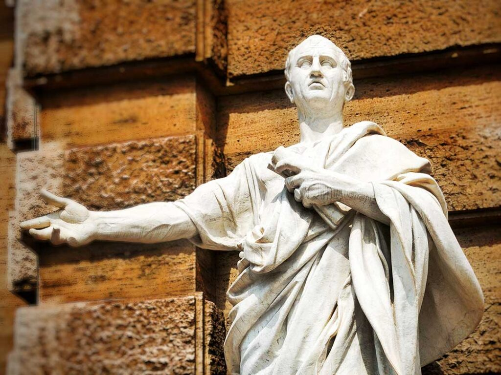White Marble statue of Cicero in Rome, Italy.