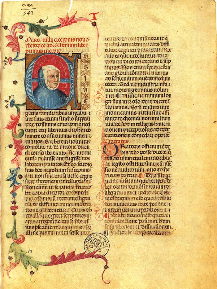 RHETORICA AD HERENNIUM FROM MS VAT. PAL. LAT. 1459, FOL. 1R. BIBLIOTHECA APOSTOLICA VATICANA