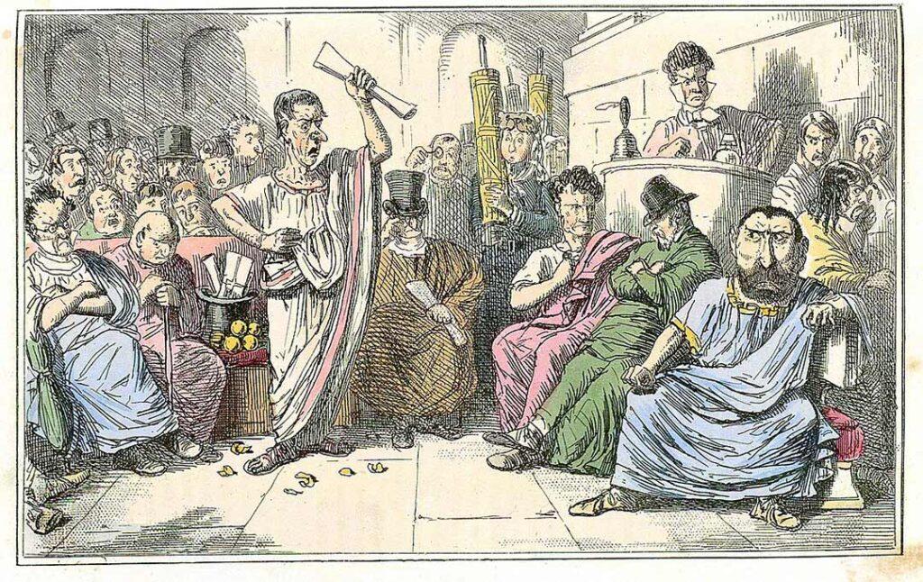 Comic drawing of Cicero denouncing Catiline made by John Leech c. 1850.