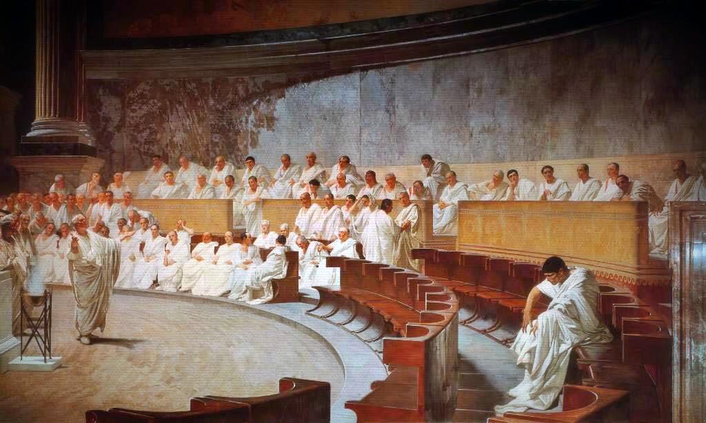 Fresco showing Cicero denouncing Catiline in the senate, by Cesare Maccari.