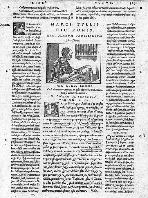 Woodcut showing Cicero writing his letters from 1547.