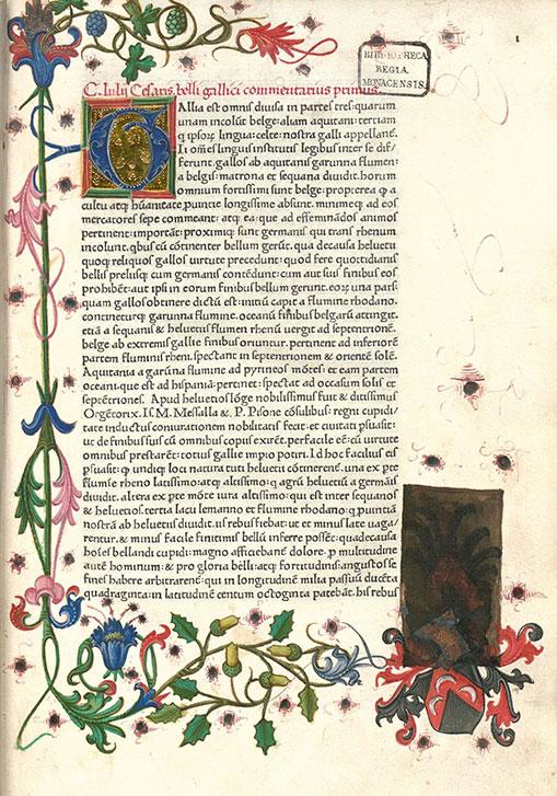 15th century ornate manuscript of Julius Caesar's De Bello Gallico.