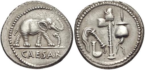 Roman coin, a denarius, showing an elephant above the name Caesar.