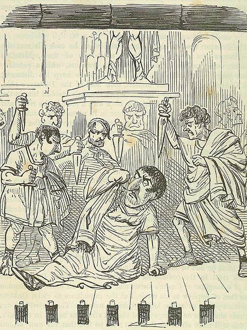 Cartoon illustration of the assassination of Julius Caesar by John Leech, 1860.