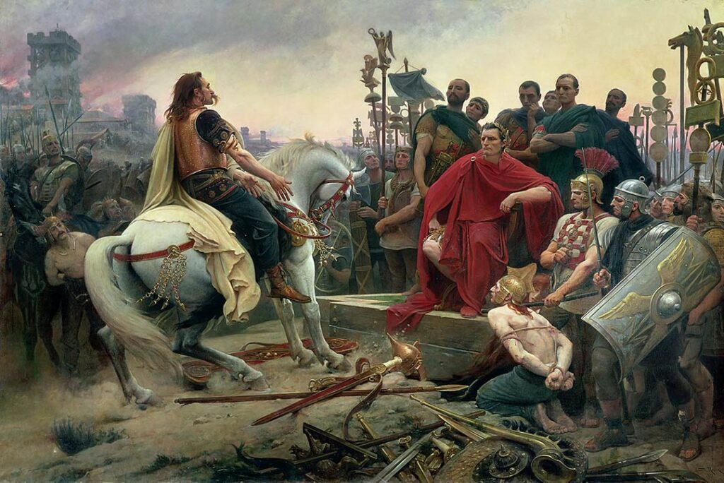 Painting by Lionel Royer form 1899 showing how Vercingetorix throws down his weapons at the feet of Julius Caesar ather the battle of Alesia