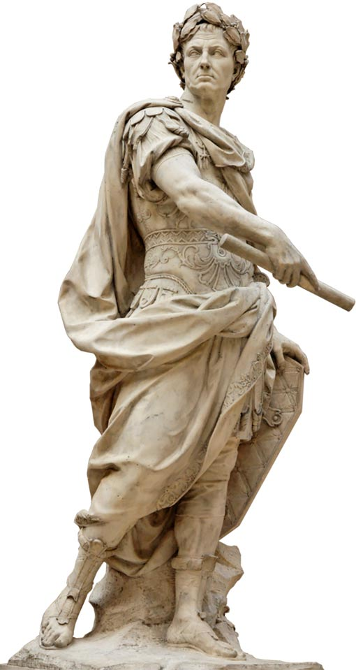 White marble statue of Julius Caesar by Nicolas Coustou, 1696.
