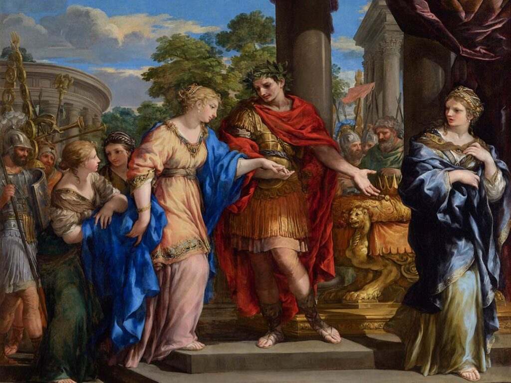 Painting of Caesar placing Cleopatra back on the throne of Egypt from 1637.
