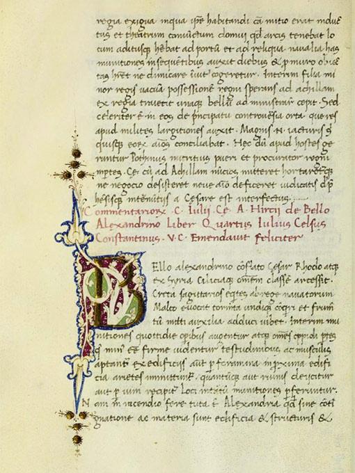 15th century manuscript of De Bello Alexandrino.