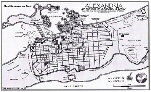 Map of Alexandria at the end of Cleopatras reign.
