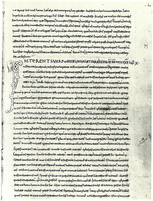 Manuscript of Varro's De Lingua Latina from the 12th century.