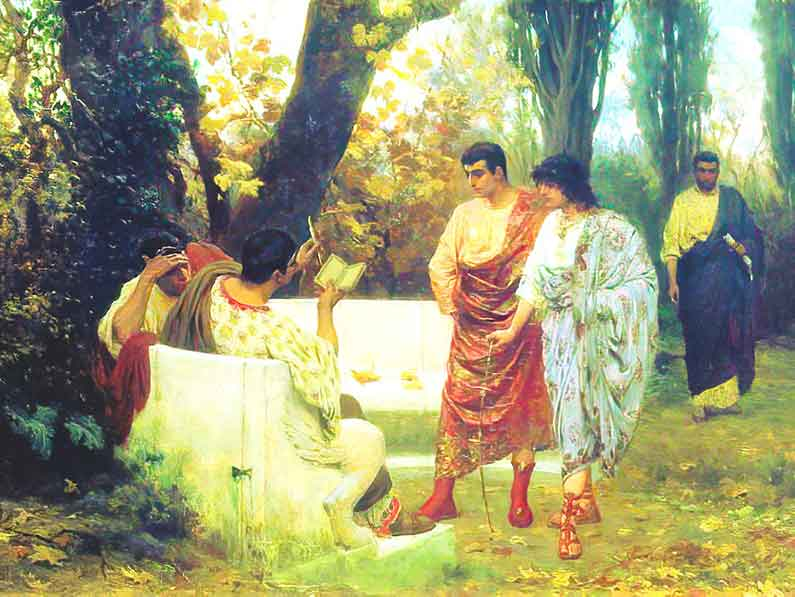 """Painting called """"Catullus"""" with Romans reading outside under the trees, by Stefan Bakalowicz."""