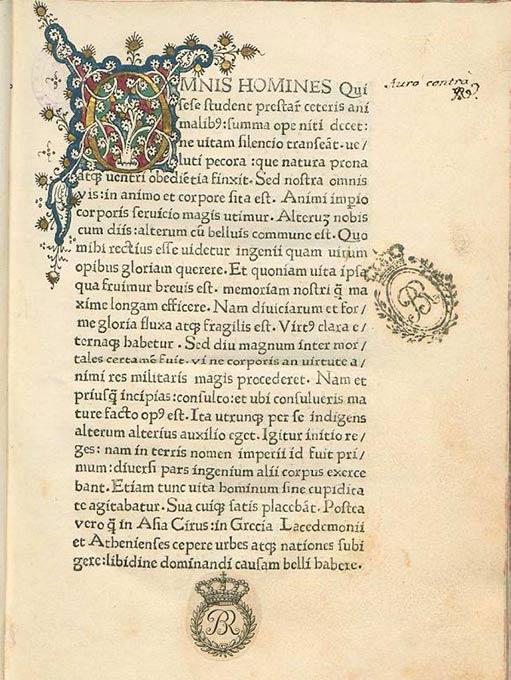 A manuscript from 1475 of Sallust's De Conjuratione Catilinae.