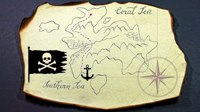 Old pirate treasure map over an island.