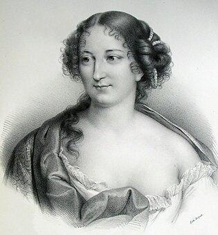 Black and white engraving of Madame Deshoulières.