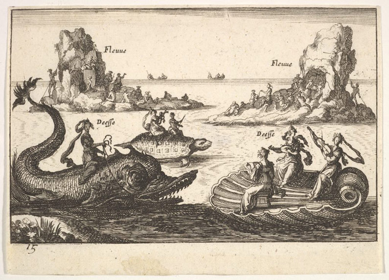 Etching of Rivers and goddesses with floating islands by Remigio Cantagallina, 1608.