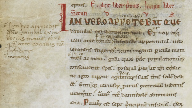 Manuscript from late 12th cent.-early 14th cent. of Livy. 22.1 with. corrections by Petrarch and Valla
