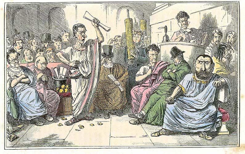 Comic depiction of Cicero denouncing Catiline, by John Leech , 1850s.