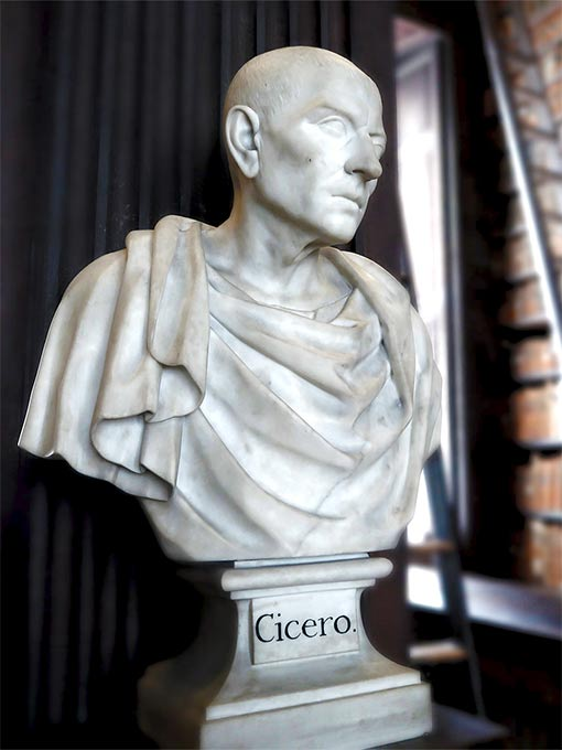 White marble bust of Cicero at the Trinity College Library, Dublin.