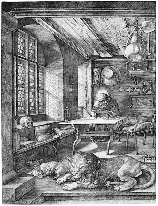 Copper engraving print of Saint Jerome in his study accompanied by his dog and his lion. By Albrecht Dürer, 1514.