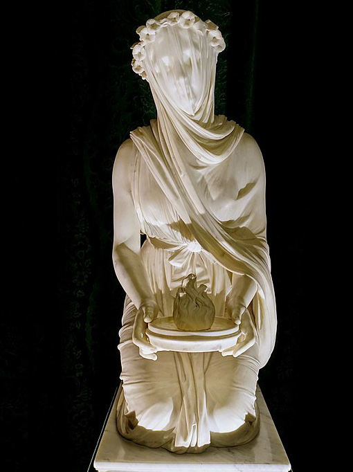 White marble statue of a veiled vestal, by Raffaelle Monti, 1847.