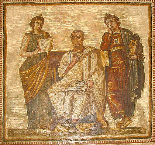 A 3rd-century Tunisian mosaic of Virgil seated between the muses Clio and Melpomene.