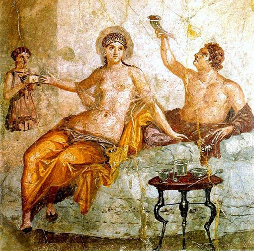 Fresco from Herculaneum with a Roman couple next to a small table.